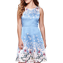 Buy Yumi Floral Satin Dress, Sky Blue Online at johnlewis.com
