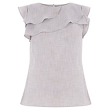 Buy Oasis Linen Look Shell Top, Black/White Online at johnlewis.com