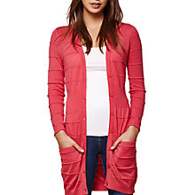 Buy Yumi Longline Stripe Knit Cardigan, Coral Online at johnlewis.com
