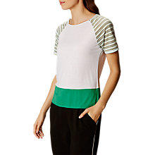 Buy Karen Millen Sheer Stripe Jersey T-Shirt, White/Multi Online at johnlewis.com