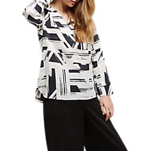 Buy Jaeger Linen Brushstroke V-Neck Tunic Top, Black/White Online at johnlewis.com
