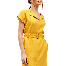 Buy Jaeger Linen V-Neck Shirt Dress, Gold Online at johnlewis.com