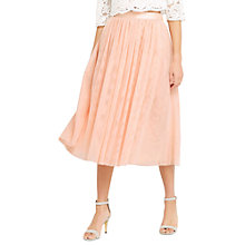Buy Oasis Mesh Midi Skirt, Pink Online at johnlewis.com