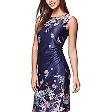 Buy Yumi Floral Sateen Occasion Dress, Dark Blue Online at johnlewis.com