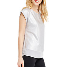 Buy Oasis Metallic Cap Sleeve T-Shirt, Off White Online at johnlewis.com
