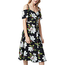 Buy Warehouse Magnolia Button Through Dress, Black/Multi Online at johnlewis.com