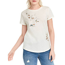 Buy Oasis Spring Embroidered T-Shirt, Off White Online at johnlewis.com