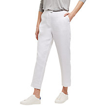 Buy Jaeger Linen 7/8 Trousers, White Online at johnlewis.com