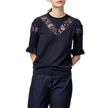 Buy Warehouse Lace Insert Frill Cuff Jumper, Navy Online at johnlewis.com
