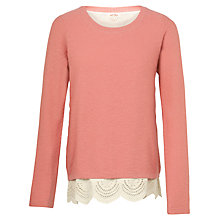 Buy Fat Face Woven Mix Textured 2 in 1 Jumper, Blush Online at johnlewis.com