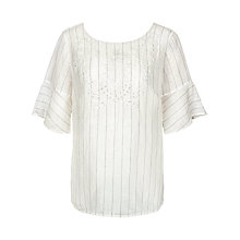 Buy Fat Face Elizabeth Embroidered Linen Blend Top, Ivory Online at johnlewis.com