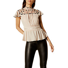 Buy Karen Millen Floral Lace Embroidered Top, Nude Online at johnlewis.com