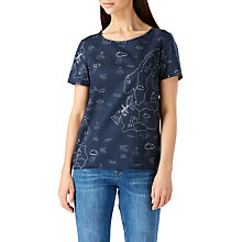 Buy Sugarhill Boutique Map Print Button Back Top, Navy Online at johnlewis.com