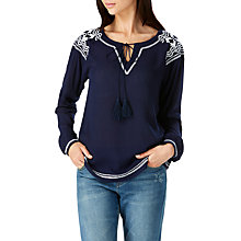 Buy Sugarhill Boutique Windmill Embroidered Boho Top, Navy Online at johnlewis.com
