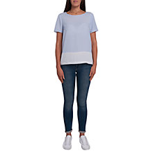 Buy French Connection Crepe Light Colour Block Raw Edge T-Shirt, Saltwater/Summer White Online at johnlewis.com