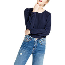 Buy Oasis Crepe Long Sleeve Top, Navy Online at johnlewis.com