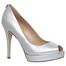 Buy MICHAEL Michael Kors York Stiletto Peep Toe Sandals, Silver Online at johnlewis.com