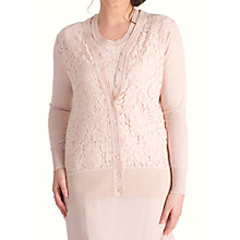 Buy Chesca Corded Lace Trim Cardigan, Dark Blush Online at johnlewis.com