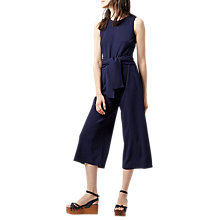 Buy Warehouse Tie Front Crepe Jumpsuit, Navy Online at johnlewis.com
