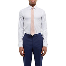 Buy Jaeger Dobby Cotton Double Cuff Slim Fit Shirt, White Online at johnlewis.com