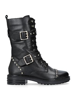 Kurt Geiger London Sting Biker Boots, Black Leather