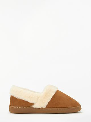 John Lewis & Partners Comfort Cuff Boot Slippers, Chestnut