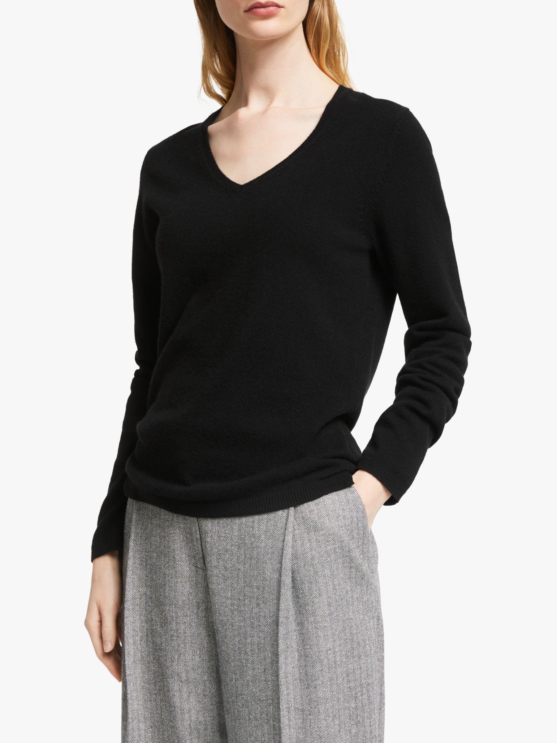 John Lewis & Partners Cashmere Rib Trim V Neck Sweater, Black