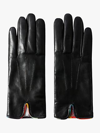 Paul Smith Swirl Piping Leather Gloves, Black Swirl