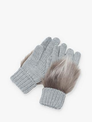 French Connection Faux Fux Trim Gloves, Dove Grey