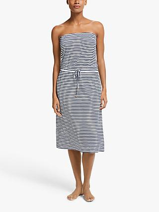 John Lewis & Partners Fine Stripe Bandeau Midi Jersey Dress, Navy/White