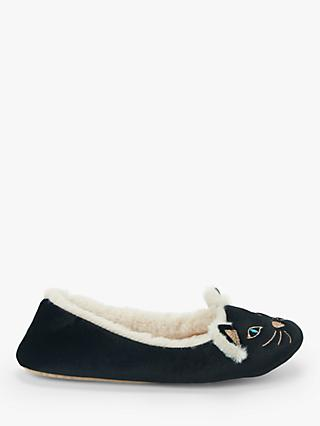 John Lewis & Partners Cat Ballerina Slippers, Black