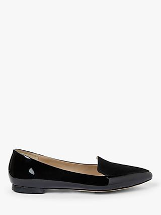 John Lewis & Partners Gin Patent Leather & Suede Loafers, Black