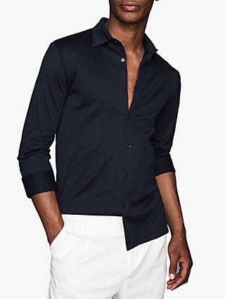 Reiss Chapter Mercerised Cotton Slim Fit Shirt, Navy