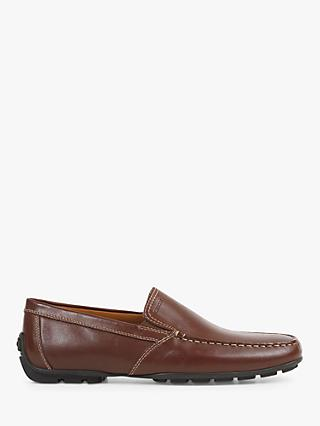 Geox Moner Leather Loafers, Dark Brown