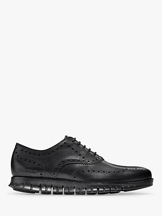 Cole Haan Zerogrand Wingtip Leather Oxford Shoes, Black Closed Holes
