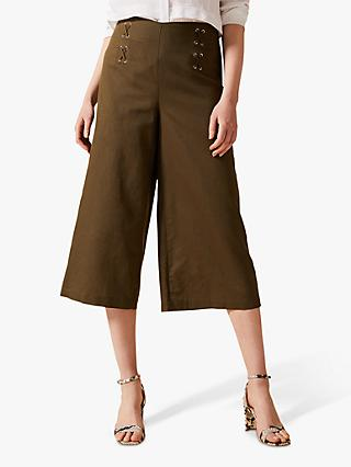 Phase Eight Linen Cotton Eyelet Culottes, Khaki