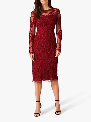 Phase Eight Nikita Tapework Lace Dress, Sangria