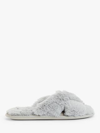 John Lewis & Partners Cross Faux Fur Slider Slippers, Grey