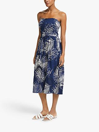 John Lewis & Partners Lanta Palm Bandeau Jersey Midi Dress, Blue