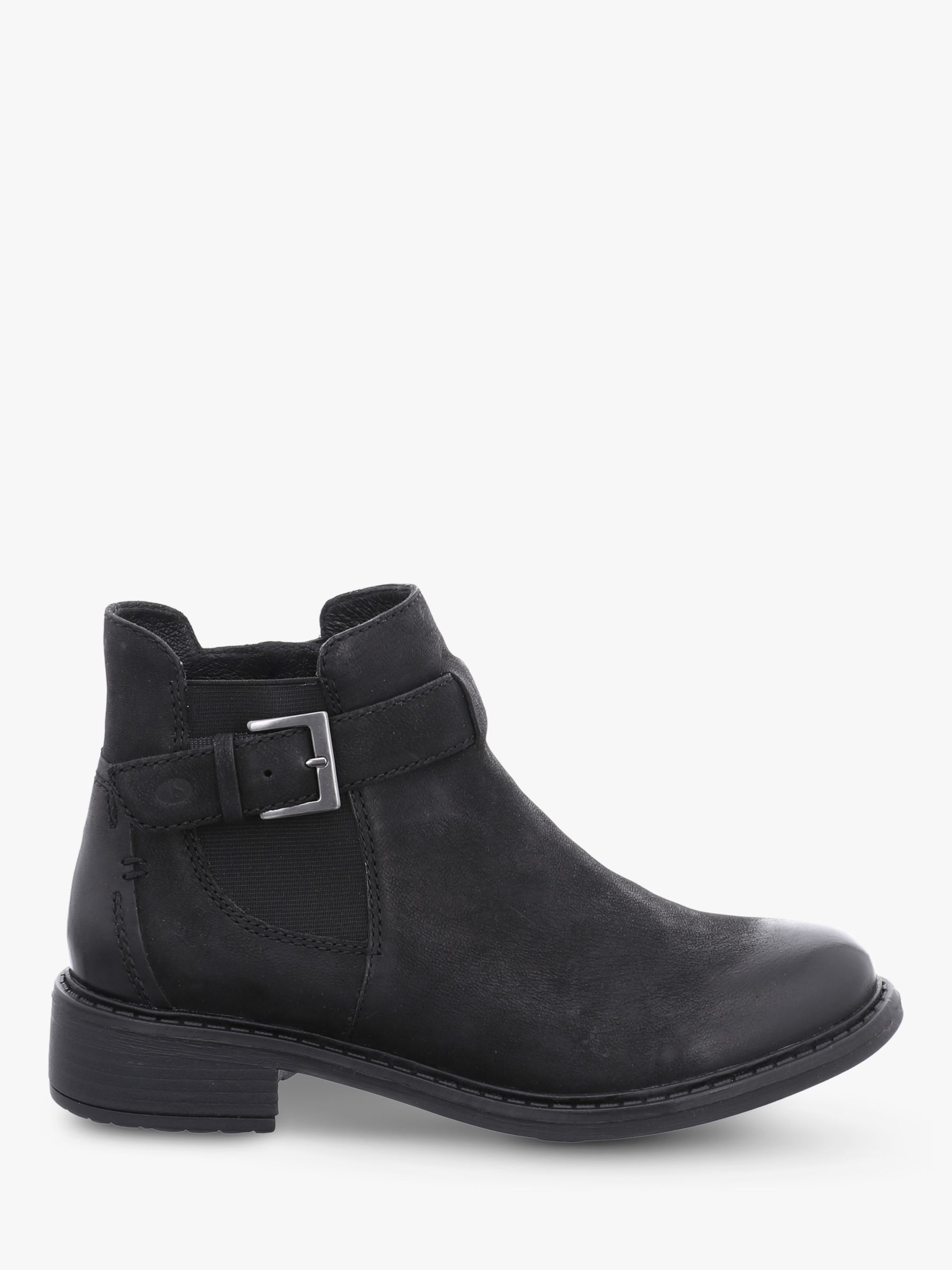 Josef Seibel Selena 17 Leather Block Heel Ankle Boots, Schwarz