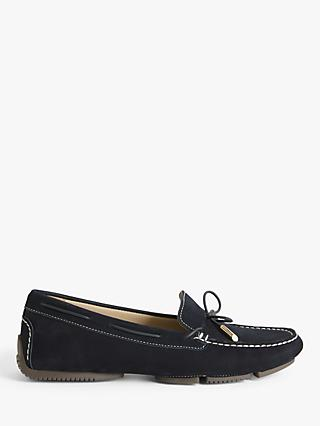 John Lewis & Partners Gladys Suede Bow Trim Moccasins