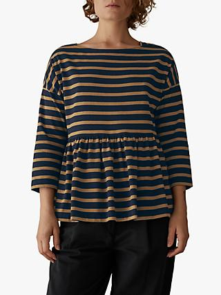 Toast Stripe Cotton Gathered Top, Navy/Dull Gold