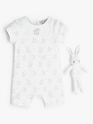 John Lewis & Partners Heirloom Collection Baby Bunny Romper & Toy, White