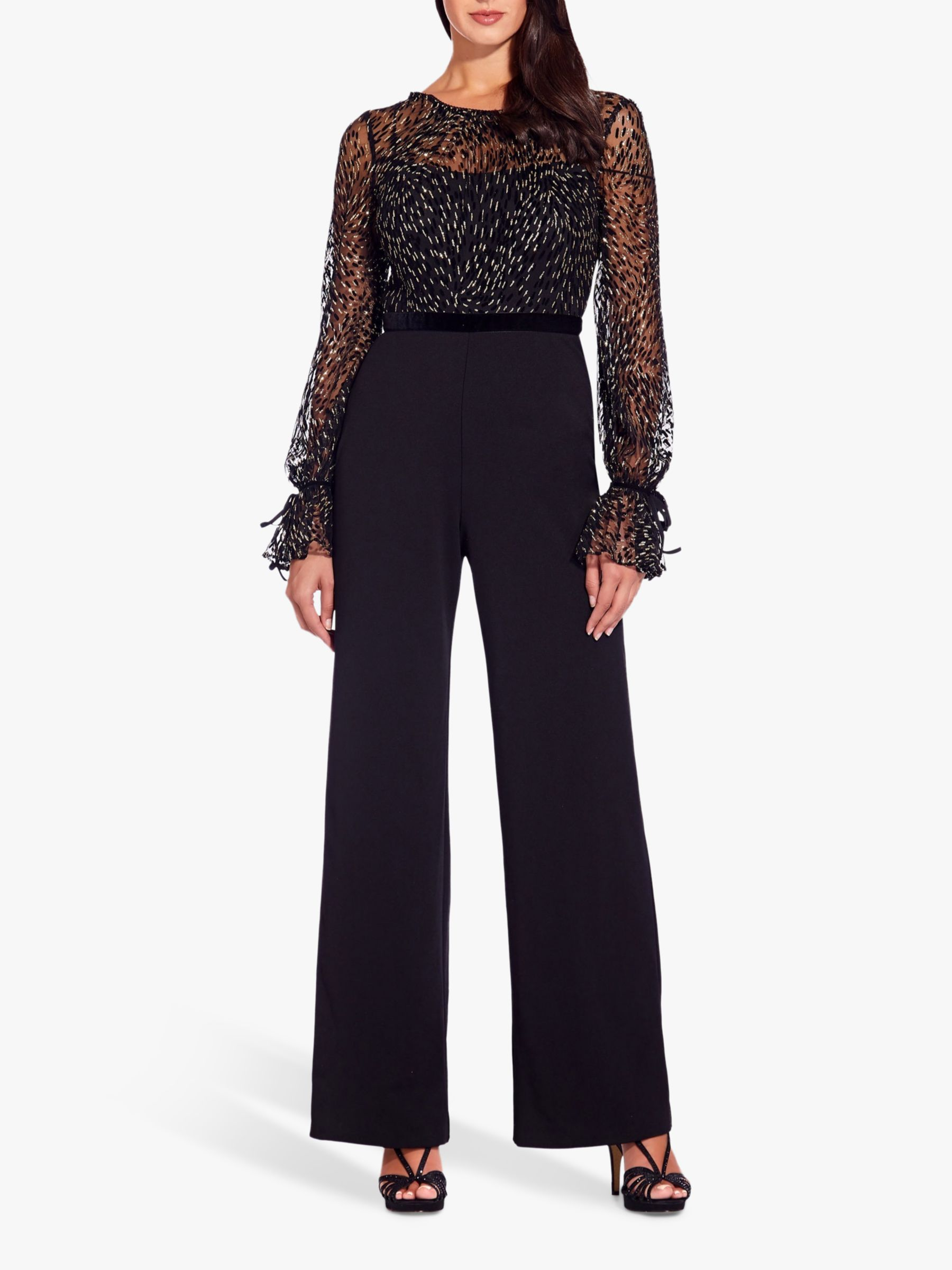 Adrianna Papell Glitter Velvet Jumpsuit Black Gold At John Lewis Partners