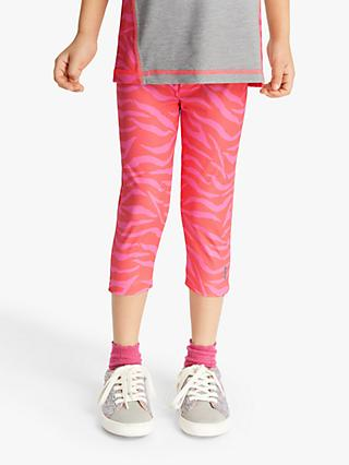 John Lewis & Partners Girls' Sports Zebra Capri Leggings, Pink