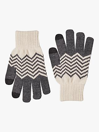 French Connection Chevron Touch Screen Gloves, Black/Classic Cream