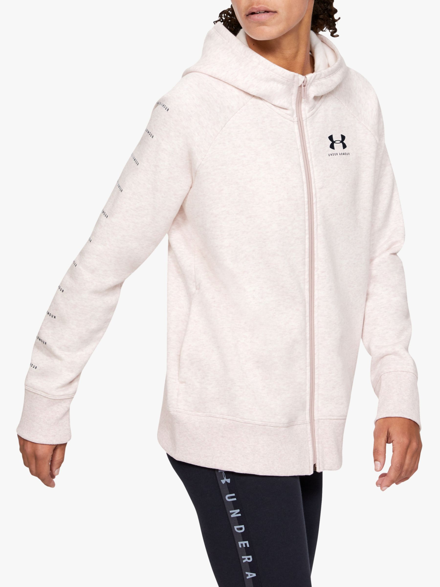 Under Armour Womens Rival Fleece Sportstyle Lc Sleeve Graphic Full Zip