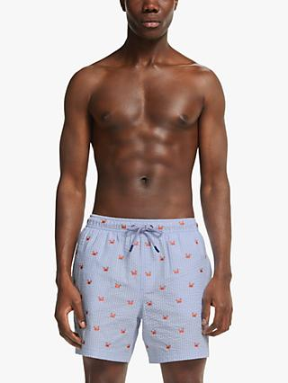 John Lewis & Partners Recycled Poly Crab Embroidered Swim Shorts, Blue/White