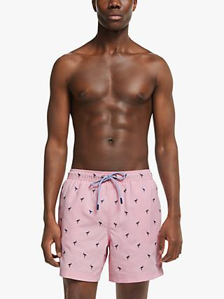 John Lewis & Partners Recycled Poly Flamingo Embroidery Swim Shorts, Pink