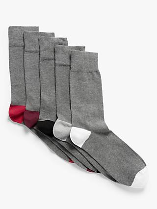 John Lewis & Partners Organic Cotton Rich Heel and Toe Socks, Pack of 5